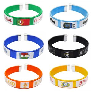 Wholesale 2018 Russian World Cup National Team Flag Bracelet Durable Football Fans Bangle Portable Wristband Hot Sale yb B