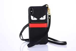 Wholesale Fashion Brand Devil Eyes Leather Wallet Case Wristband Bracelet Phone Shell Wrist Strap Rope Back Cover Tide for iPhone X s Plus