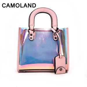 Wholesale 2018 New Female fanny pack Girls Holographic bags Chain Summer Laser Bag banana Hologram PU leather Black White Woem Travel bags