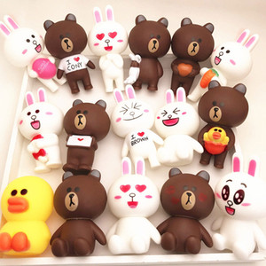 Wholesale Bear Rabit Action Figures DIY Creative Party Birthday Cake Baking Table Decoration Doll Animal PVC Toys for Children Girls Boys