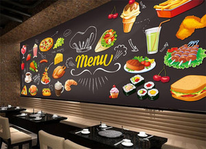 Wholesale Custom photo wallpaper D Hamburger restaurant coffee shop tea house fast food hot pot dining room mural wallpaper