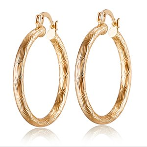 Wholesale Retro Vintage K Yellow Gold Plated Pattern Round Hoop Earrings Fashion Jewelry Bijoux Party Wedding Hot Gift for Women