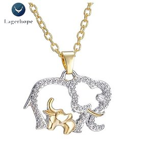 Wholesale Mother s Day Gift Necklace Women Korean Fashion Lovely Elephant Crystal Alloy Metal Pendant Necklace Jewelry Gold Chain