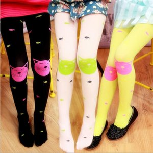 Wholesale 10 Colors Spring Summer Cute Cartoon Girl Velvet Pantyhose Children Leggings Socks Cat Fish Pattern Candy Color High Quality