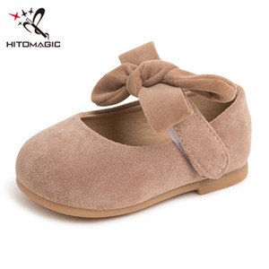 девушки осенью лук обувь оптовых-HITOMAGIC Girl Kids Leather Shoes Princess Children Girls First Shoes Baby Walkers With Bow Autumn Flats Casual Footwear