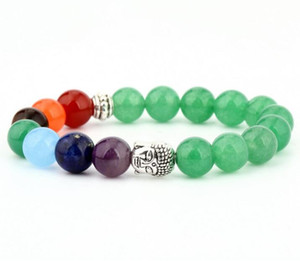 Wholesale Seven Chakra Beads Bracelet Jewelry Natural Stone Red Agate Green Aventurine Energy Volcano mm Beads Beaded Yoga Bracelet for Sale