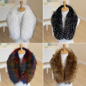 Wholesale fashion winter Scarf for women faux fox Fur Scarfs Warm Big Size Fur Collar Scarves Shawl Coat Neck blue white red hot sale