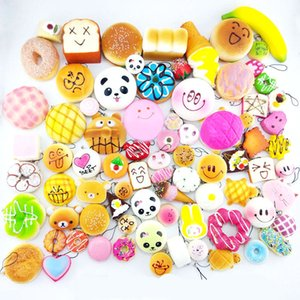 Wholesale 100pcs Kawaii Squishies Bun Toast Donut Bread for cell phone Bag Charm Straps mixed Rare Squishy slow rising lanyard scented
