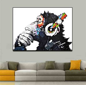 Wholesale Simple Chimpanzee Monkey Abstract Oil Painting No Frame Living Room Study Decorate Spray Canvas Paintings Drawing Core Art pg4 gg