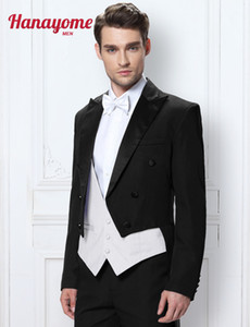 Wholesale NEW Tuxedo Short Vest Dark Green Sleeved Suits Long Tuxedo Men s Three Piece Set Wedding Tailcoat Pants colors D290