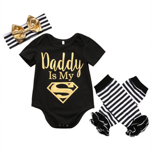 Wholesale 3pcs Newborn Baby Girl Clothes Cotton Black Daddy Top Romper Leg Warmer Bow Headband Outfits Set
