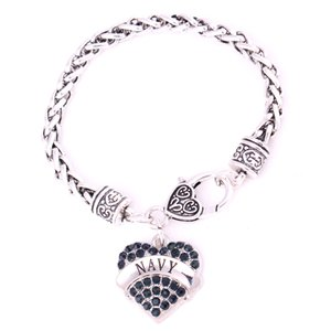 Wholesale New Arrival Rhodium Plated Studded With Sparkling Dark Blue Crystal NAVY Heart Shape Charm Pendent Bracelet