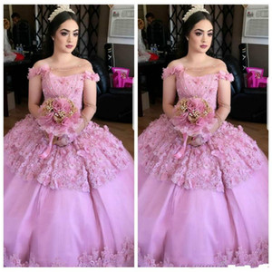 Wholesale Sweet Ages Gown Lace Quinceanera Dresses Bateau Neck Floral Tulle Bodice Long Prom Dresses Pageant Formal Party Ball Custom