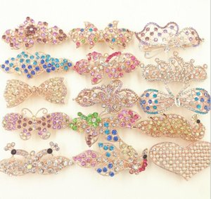 Wholesale Hot Sale Korean Women Hairpin Crystal Rhinestones Insets Bow Heart Shaped Spring Hair Clip Multicolor Mix Order In Bulk