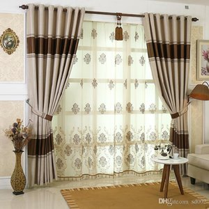 Wholesale Simple Design Shade Jacquard Weave Window Curtain Treatments Cloth Cloth Yarn A Set One Meter Home Decoration Coffee Blue Curtains sj KK