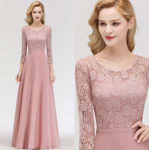 2019 Elegant Long Sleeves Chiffon Bridesmaid Dresses Lace Top Ruched Floor Length Mother Of The Bride Evening Dresses 100% Real Image BM0056 on Sale