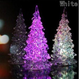 Wholesale New pc Colorful Luminous Fairy Color LED Night Light Lamp Christmas Tree Ornament Acrylic Xmas Creative Table Home Decoration