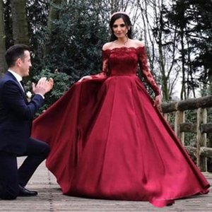 2019 Sexy Red Long Sleeve Lace Evening Dress Party Women Off Shoulder Formal Evening Gowns Dresses On Sale robe de soiree longue on Sale