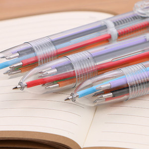 Wholesale Ballpoint pens color MM refills in multi colors transparent ball point pen cap for student