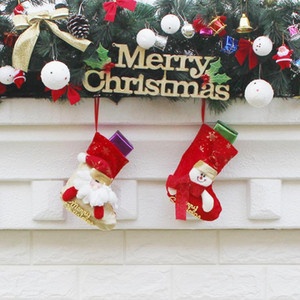 Wholesale Christmas Stockings Hand Made Crafts Children Candy Gift Santa Bag Claus Snowman Deer Stocking Socks Xmas Tree Decoration toy gift