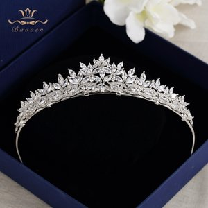 Top Quality Brides Royal Sparkling Zircon Tiaras Crown Silver Hairbands Headpieces Gifts For Bridal Wedding Hair Accessories X912