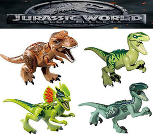 Mini figures Jurassic Park Dinosaur blocks 8pcs a lot Velociraptor Tyrannosaurus Rex Building Blocks Sets Kids toy Bricks gift