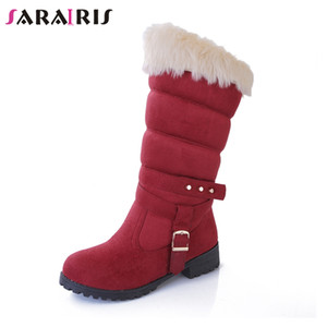 Wholesale SARAIRIS NEW Solid Snow Boots Belt Buckle Rivet Shoes Woman Casual women s Winter Warm Fur Mid Calf Boots Black Big Size