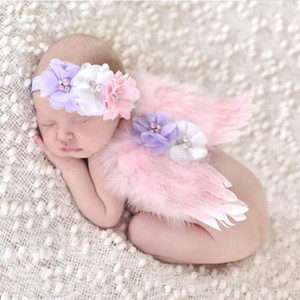 Wholesale Newborn Baby Photography Props Costume Cute Infant Baby Girl Flower Feather Angle Wings Headband Baby Accessories Photo Props Outfits M