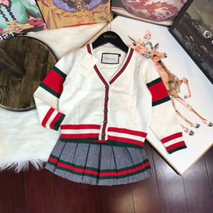 Wholesale Two Piece baby kids clothing Set Skirt Children Korean Sweater Suit Child Suit Men And Women Children Long Sleeve Leisure Time Twinset