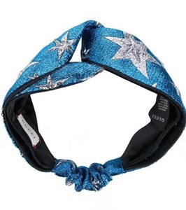 Wholesale Designer Elastic Headbands for Women Fashion Brand Blue Star Cross Turban hairband Streetwear Hair Jewelry Gifts
