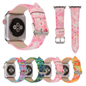 Wholesale For mm Apple Watch Band Genuine Leather Fish Skin Prints Colorful Outdoors Sports iwatch Strap Belt Wrist Bracelet I324