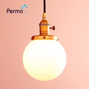 "PERMO 5.9"" Milk White Glass Globe Pendant Lights Vintage Pendant Ceiling Lamps Modern Hanglamp Retro Luminaire Lights Fixture X"