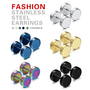 Wholesale Punk Double Sided Round Titanium Steel Earrings Men Women Blue Gold color Fake Ear Plugs Gothic Barbell Stud Earring