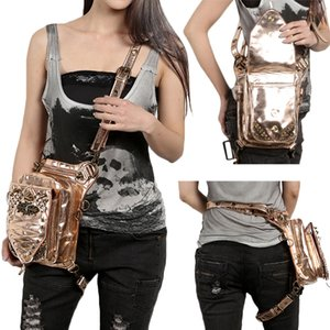 Wholesale Punk Rock Women Waist Bags Fashion Leg Bag Shoulder Bag Retro Rock Luxury Cross Body Bags Leather Phone Case Holder