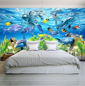 Wholesale Free Shipping 3D custom wallpaper underwater world marine fish mural children room TV backdrop aquarium wallpaper mural