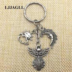 Silver Plated Keychians 2pcs Gift For Lovers Big Angel Pendant Keyring Sunshine Half Moon Charms Key Rings Diy Jewelry Making