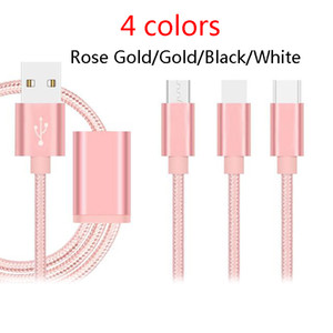 Wholesale Charger Cable in cable M Long Strong Braided USB Charging cables With Metal Head Plug for ip5 samsung smartphones