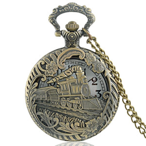 Classic Vintage Bronze Train Carved Hollow Steampunk Quartz Pocket Watch Retro Men Women Necklace Pendant Jewelry Gifts