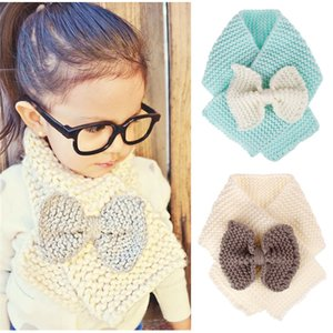 Fashion Children Scarf Kids Knitted Wool Scarf Warm Neck Scarves for Boy Girl Winter Big Bow Scarf Mufflers Clothing Accessories