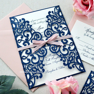 LARA - Navy Laser Cut Wedding Invitation - Glittering Navy Laser Cut Gatefold invite with Blush Pink Ribbon and Envelopes
