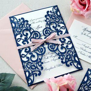 LARA - Navy Laser Cut Wedding Invitation - Glittering Navy Laser Cut Gatefold invite with Blush Pink Ribbon and Envelopes