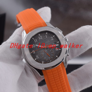 Wholesale NEW Automatic Mechanical Mens Watch Steel case grey dial Orange rubber strap Gents Watches Transparent Back AQUANAUT PP A
