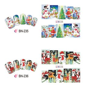 Wholesale 28 Pattern pc Nail Sticker Water Decal Slider Merry Xmas Christmas Santa Clause Socks Moon Snow Man Gift DIY Nail Sticker