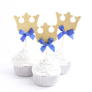 Wholesale 12pcs Prince Crown Cupcake Topper Theme Cartoon Party Supplies Kids Boy Birthday Party Decorations