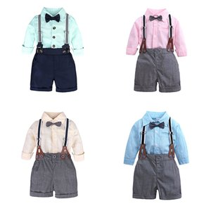 Wholesale Baby Boy Clothes Sets Spring Autumn Infant Boys Gentleman Suits Long Sleeve Bow Tie Shirt Suspenders Shorts Cotton Children Clothing M
