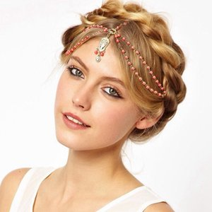Wholesale Hair Decoration Hair Band Head Dress Fashion Indian Boho white red Beaded Head Piece Women Head Chain Wedding Hair Jewelry
