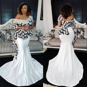 Wholesale Gorgeous Black And White Prom Dresses Sexy Off Shoulder Half Long Sleeves Pearls Beaded Evening Gowns South African Women Formal Wear