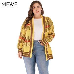 Wholesale Womens Sweaters Winter Plaid Gingham Pattern Casual V neck Long Sleeve Autumn Women Cardigan Yellow Knitted Korean Sweater