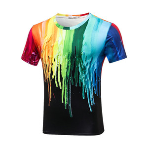 Plus Size 3XL Stretch Sport Tee Funny 3D T-shirts Men Splashed Paint Ink T shirts Long Sleeve Round Neck Printed Quick Dry Tops