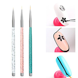 Wholesale 3pcs set Nail Art Liner Painting Pen D Tips DIY Acrylic UV Gel Brushes Drawing Kit Flower Line Grid French Designer Manicure Tool